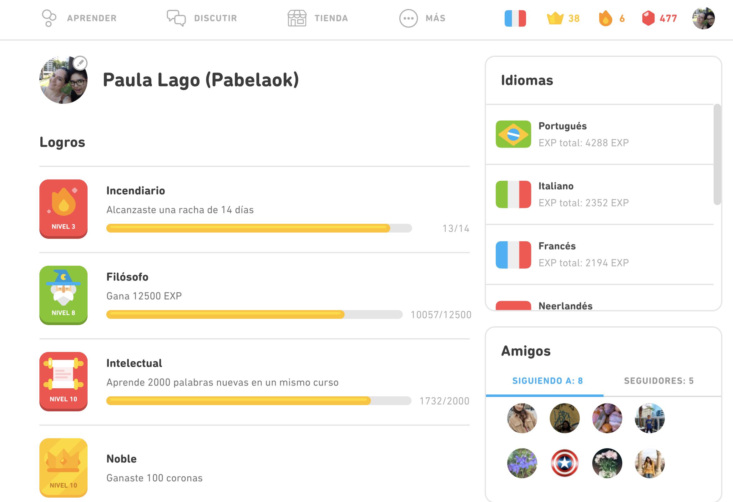 Perfil personal de Duolingo